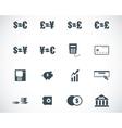 black bank icons set vector image vector image
