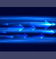 blue light streak with arrows moving forward vector image vector image