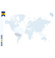 blue world map with magnifying on barbados vector image vector image