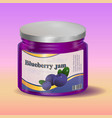 blueberry jam in jar vector image vector image