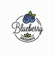 blueberry logo round linear organic blueberry vector image vector image