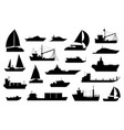 boats silhouette sailboat barge fishing vector image vector image