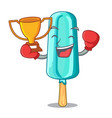 boxing winner ice cream shaped stick on mascot vector image
