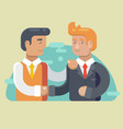 business partnership two businessmen handshaking vector image vector image