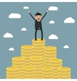 businessman standing on the huge money staircase vector image vector image