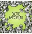 Cactus Sketch Frame vector image