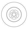 car wheel icon black color in circle or round vector image