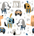 childish seamless pattern with funny creative dogs vector image vector image