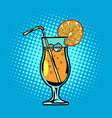 cocktail with lemon drink with straw and ice vector image