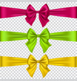 colorful bows set isolated on transparent vector image vector image