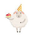 cute white sheep character wearing party hat vector image vector image