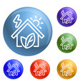 eco house icons set vector image vector image