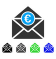 euro mail flat icon vector image