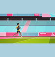 fitness man running stadium track african american vector image
