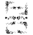 Floral borders with blooming rose flowers vector image vector image