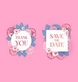 flower label set with hand drawn flowers wedding vector image vector image