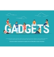Gadgets concept of young people using vector image vector image
