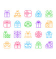 gift simple color line icons set vector image