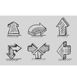 Hand drawn 3d arrows black icon set vector image