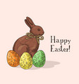 hand drawn easter gift card with chocolate rabbit vector image vector image