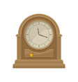 icon of antique wooden table clock with golden vector image vector image