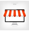 Internet shopping concept Realistic monitor vector image