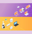 internet things isometric banners set vector image vector image