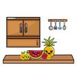 kawaii fruits in kitchen design vector image