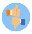 like and dislike hands flat cartoon vector image vector image