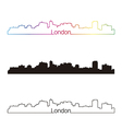 London skyline linear style with rainbow vector image