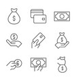 money outline icons on white background money vector image vector image