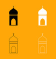 mosque set black and white icon vector image vector image