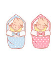 newborn sleeping bagirl and boy in swaddle vector image vector image