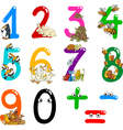 Numbers with cartoon animals