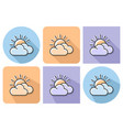 outlined icon sun with clouds partly cloudy vector image