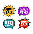 sale label set business shopping symbol in pop vector image