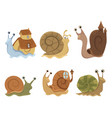 set cartoon snails with houses collection of vector image
