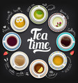 set different cups coffee and tea sketch on vector image vector image