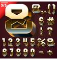 set golden 3d alphabet vector image vector image