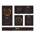 set of 40th happy anniversary cards template vector image vector image