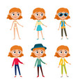 set of girl in stylish clothes isolated on vector image