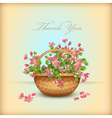 Spring wicker basket cherry flowers Thank you card vector image