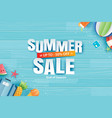 summer sale with decoration origami on blue vector image vector image