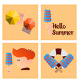 summer time poster with cute summer in cartoon vector image