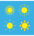 Sun icons set blue Collection yellow signs vector image vector image