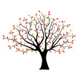tree with brown yellow and red leaves vector image vector image