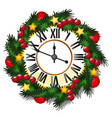 vintage wall clock decorated with golden balls vector image