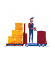 warehouse worker moving boxes with electric vector image vector image