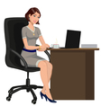 woman behind a Desk with a laptop vector image vector image