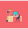 Workplace in room Flat minimalistic style vector image